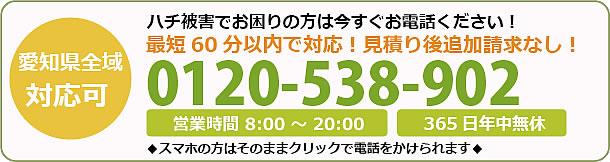 愛知県蜂駆除・巣の撤去電話お問い合わせ「0120-538-902」